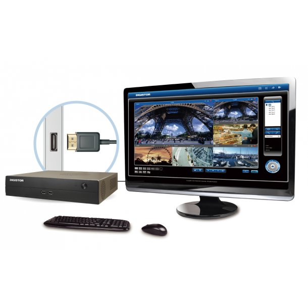 NVR 5 Kanals (kan opgraderes til max 36 ch), DS-2105 Pro, HDMI, Fuld HD Lokal Monitor 200/300fps, 360Mbps, Uden Harddisk.