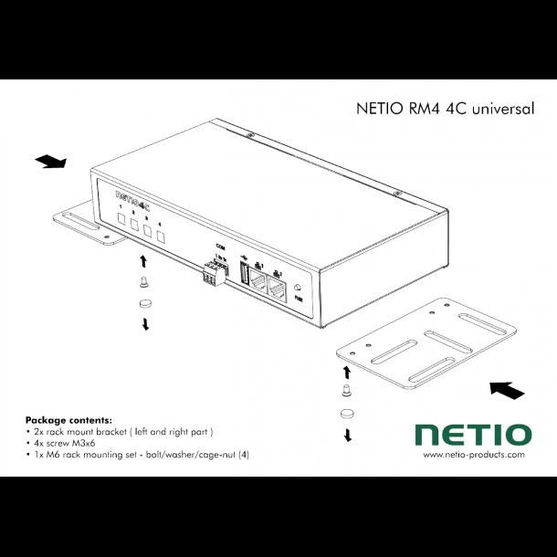 Konsol til universel montering af Netio 4C