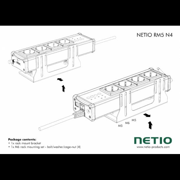 Vinkelkonsol til vertikal montering af Netio 4 eller 4 ALL i 19