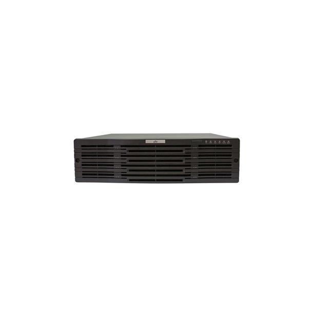 NVR 128 Kanals, 16x HDD Max 128TB, HDMI/VGA/BNC Video Out, 2x MiniSAS, Max 12MP/4K Decoding, In/Out Brandwith 512/384Mbps, 4x USB, 1x RS485, 1x RS232, RAID1, RAID5, Uden Harddisk.