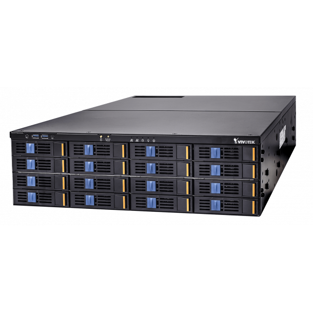 NVR 64 Kanals, 16x HDD Max 160TB, RAID, HDMI/DVI/DP Video Out, VAST Setup, Dual Giga Bit LAN, Fisheye Dewarp, Uden Harddisk.