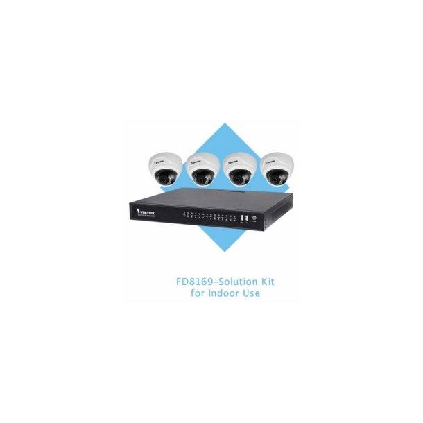 Vivotek Indendørs NVR Pakke, ND8322P, 8 Kanals Inkl. PoE og 4x FD8169 Indendørs Mini Dome.