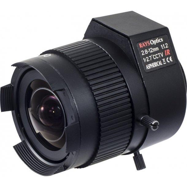 MP Lens. CS Mount. Auto Iris. 1/2,7. 2,8-12mm. F1.2