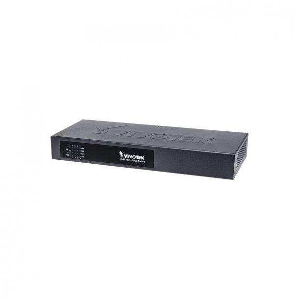 Vivotek 8 Port PoE Switch, 8x FE PoE, 2xGE UTP/SFP Switch, 120W.