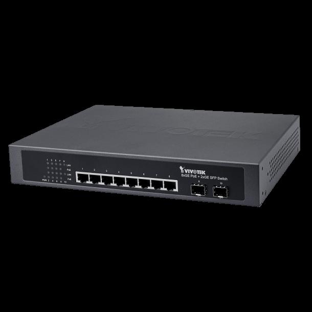 Vivotek 8 Port Power PoE Switch, 8x GE PoE, 2x GE SFP 120W.