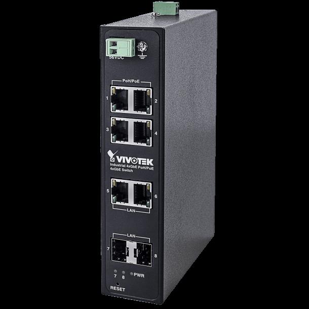 Vivotek Industrial 4xGE 95W PoE/PoE + 2xGE UTP + 2xGE SFP Switch, 1000Mbps, Max. 240W.
