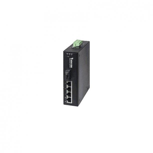 Vivotek Industrial 4 Port PoE Switch, 4x FE PoE, 1x FE Single Mode 30KM Switch, 100Mbps.