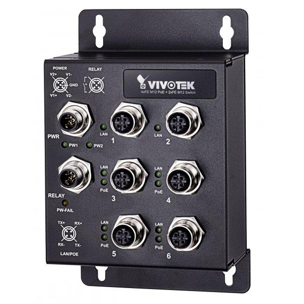 Vivotek Industrial 4 Port PoE Switch, EN50155 4x FE M12 PoE, 2xFE M12 Switch, 100Mbps.