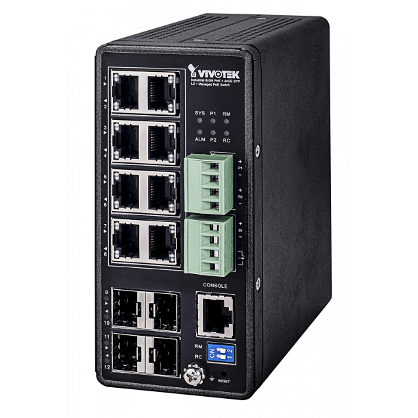 Vivotek Industrial VivoCam L2+ 8xGE PoE + 4xGE SFP Managed PoE Switch