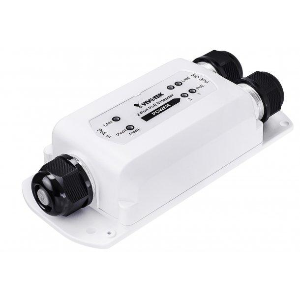Vivotek Outdoor (-40c) IP67, IK10, 2 Port PoE Extender 95W PoH / PoE