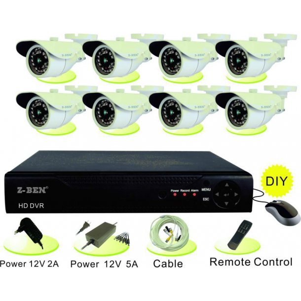 HD-DVR 8 Channel Incl. 8 x 1 MP Bullet with IR 20M, 1280x720, 25fps.